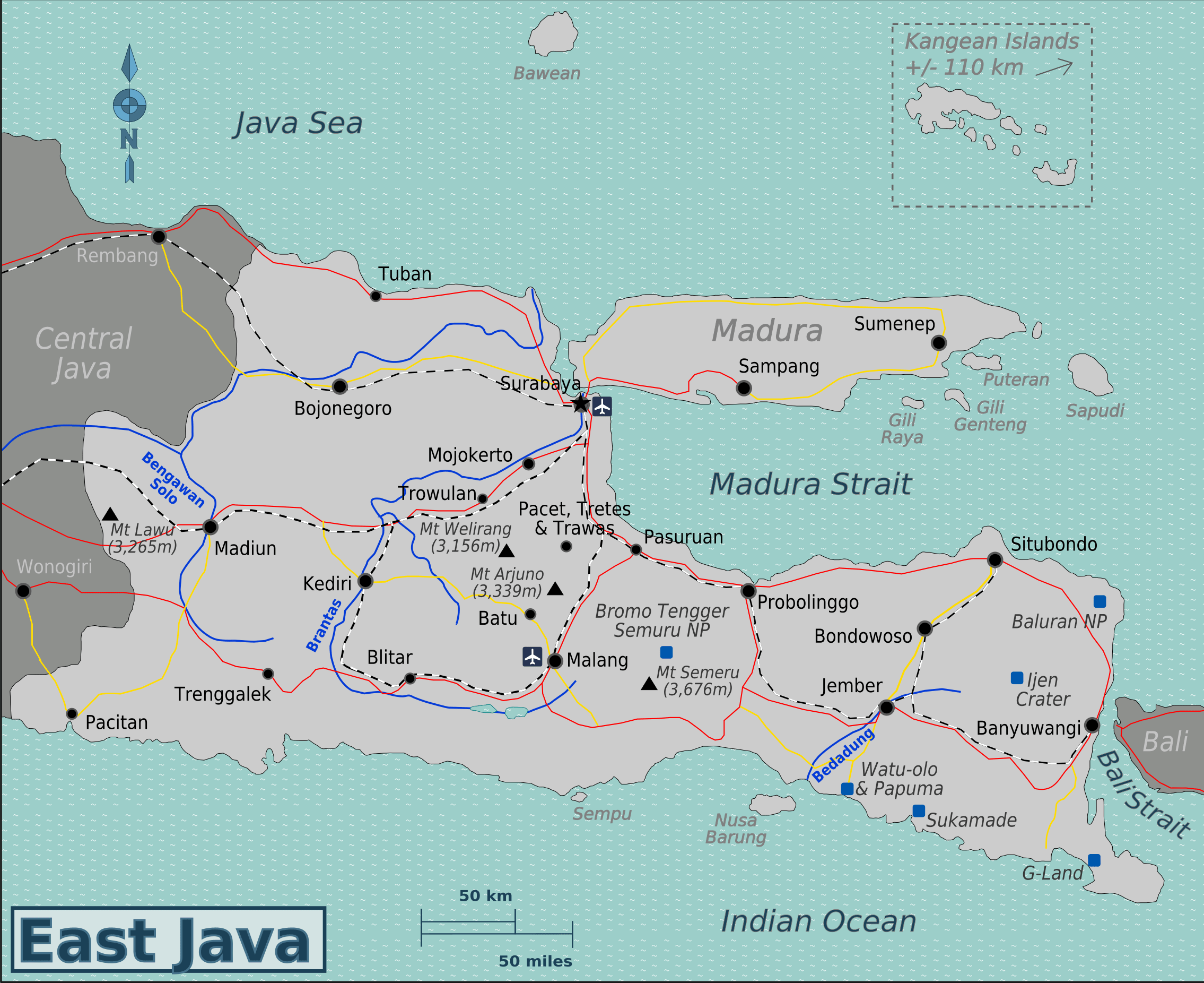 Indonesia Surabaya East Java east java map-min